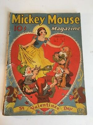 Mickey Mouse Magazine, Vol 3 #5 February 1938 Fair Condition St. Valentine's Day