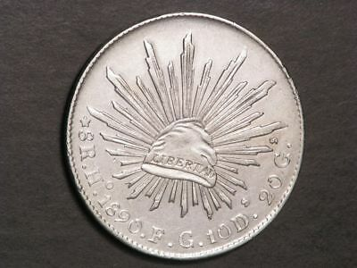 MEXICO 1890HoFG 8 Reales Silver Crown VF-XF