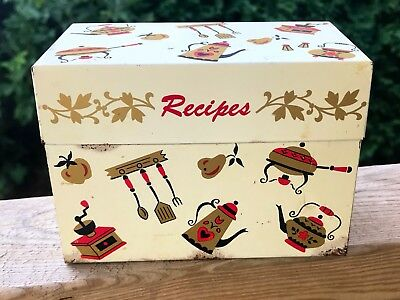 Vintage Recipe Box Tin Ohio Art Co Mid Century Modern Kitchen Decor