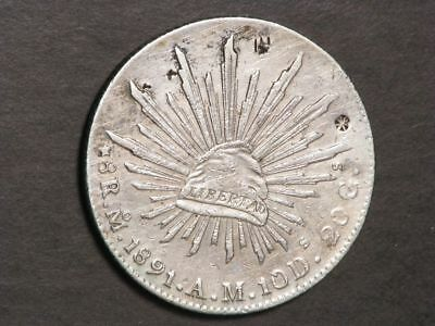 MEXICO 1891MoAM 8 Reales Silver Crown VF - Chopmarks