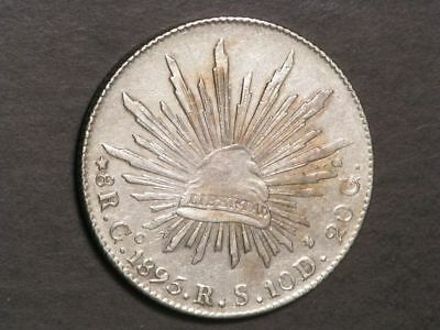 MEXICO 1895GoRS 8 Reales Silver Crown VF-XF