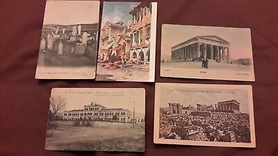 5 x Old postcards of Greece - Salonique, Athens