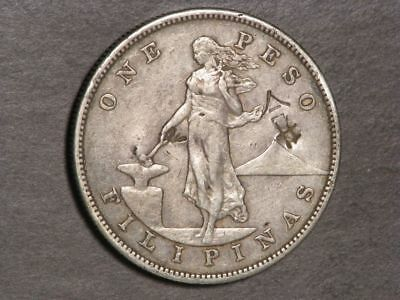 PHILIPPINES 1905S 1 Peso Silver Crown VF - Chopmarks