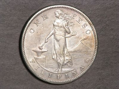 PHILIPPINES 1911S 1 Peso Silver Crown XF-AU - Key Date