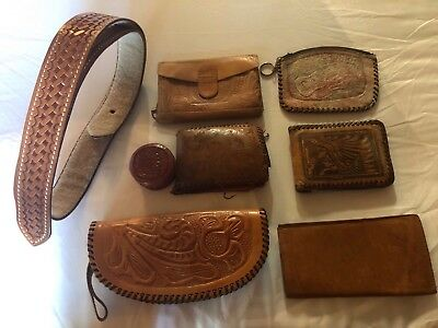 Lot 7 Vtg LEATHER TOOLED MISC  - Belt, Wallets,Purses, Check Cover,Trinket Case