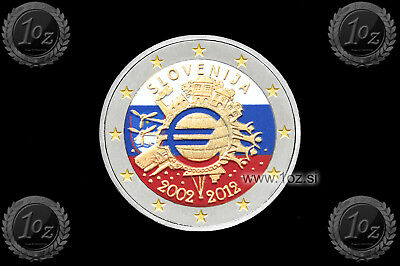 SLOWENIEN SLOVENIA 2 EURO 2012 (10 Years of EURO TYE) Gedenkmünze FARBE / COLOUR