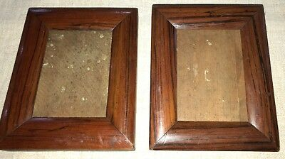 19C MATCHING PAIR OF FAUX ROSEWOOD SMALL PICTURE FRAMES with original glass