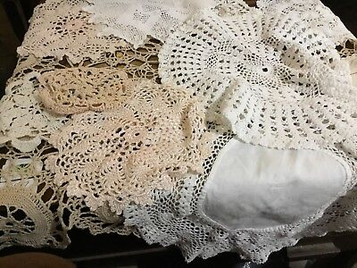 A Job Lot of Vintage / Doillies Hand Crocheted Various Sizes White And Cream.