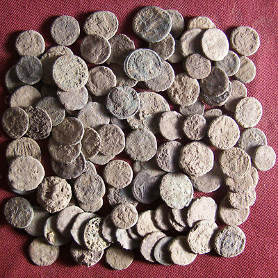 Lot of 100 Uncleaned Late Roman Bronze Coin  - JUNK #1
