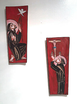 2 x vintage mid century modern Italian pottery wall plaques eames era Assisi 60s