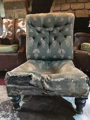 Victorian Button Back Upholstered Occasional or Nursing Chair for reupholstery
