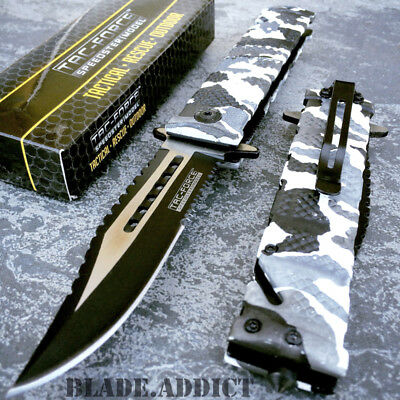 TAC FORCE Spring Assisted Open SAWBACK BOWIE Tactical Rescue Pocket Knife Camo-M