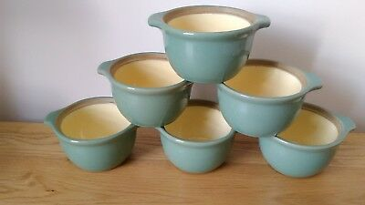 6 x Denby MANOR GREEN Individual Casserole Dishes / Soup Bowls with Handles