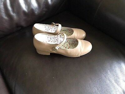 3800 Adult Capezio Caramel Brown Leather Mary Jane Tap Shoes Size 10 M
