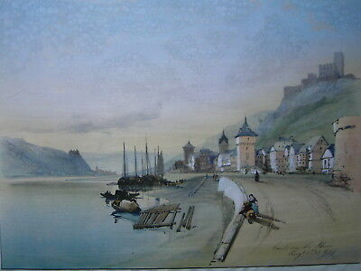 Monogrammist JDH - KAUB, Caub on the Rhine. Original-Aquarell signiert 1834