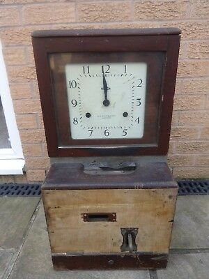 old wooden Time Recorder Clocking in Clock Machine for spares or repair   lot 2