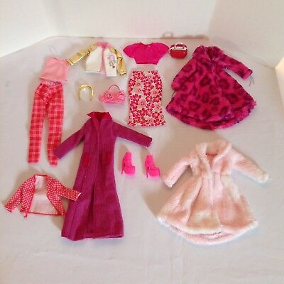 Lot 14 Pieces Barbie Clothing Accessories Mattel & OOAK Including Maxi Coat