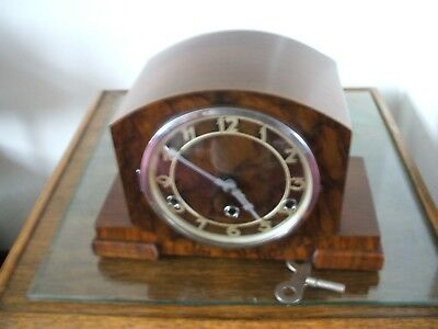 Vintage  German Art Deco 8 Day Westminster Chime Mantle Clock V Good Condition