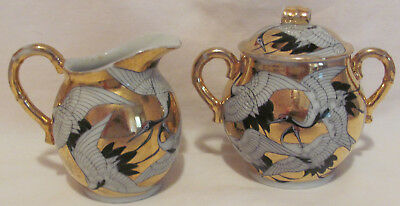 Rare Kutani Crane Cranes Antique Creamer Sugar Bowl c.1890's Black Gold Red