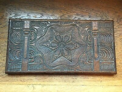 Intricately carved oak panel featuring straps - lid off old box?