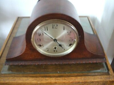 German Vintage Art Deco Napoleon Hat 8 Day Westminster Chime Mantle Clock  V G C
