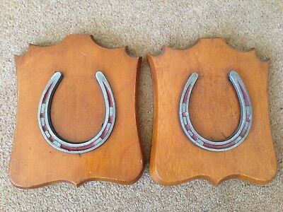 Pair Of Antique Horse Shoes Mounted On Wooden Plaques