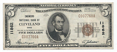 1929 $5 National Currency Note Engineers National Bank Cleveland Ohio XF+ 11862