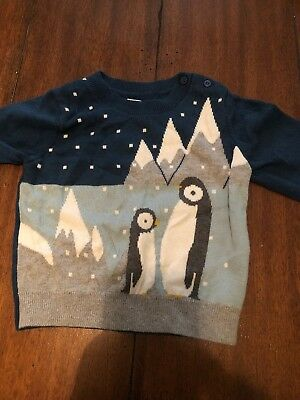 Baby Gap Toddler Boy Grey Blue Penguin  Sweater Size 18-24 Months