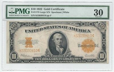 Fr1173 $10 1922 Gold Certificate  PMG VF 30 Gold Coin Note US Currency Large SN