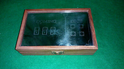 Vintage Wooden Box with metal plate inlay `dice - domino`