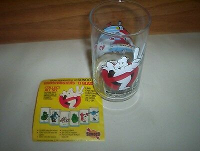 """ECTO-1A Sunoco Glass Ghostbusters II 1989 Water Glass : 5"""" Tall (Canada) (NOS!)"""