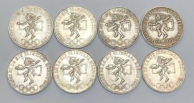 Lot of 8 1968 25 Pesos Mexico Olympic Coins .720 Silver Mexican Libertad Coins