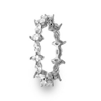Womens 925 Sterling Silver Rhodium Plated Eternity Ring with Marquise CZ