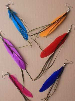 Job Lot Bulk Deal 6 X Pairs Of 4 Inch Drop Feather Earrings (03)