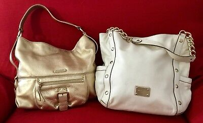 Lot 2 Authentic Michael Kors Metallic Gold And White Soft Leather Shoppers Tote