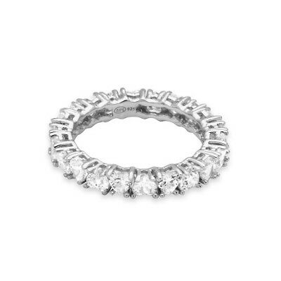Womens 925 Sterling Silver Rhodium Plated Heart Shaped CZ Eternity Ring
