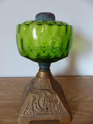 Victorian Green Glass Oil Lamp for restoration