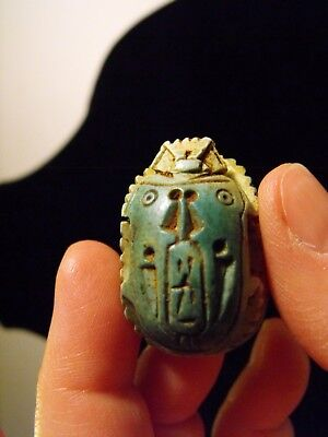 """Large 2.5"""" Egyptian Revival Green Scarab Carving Stone Pendant"""