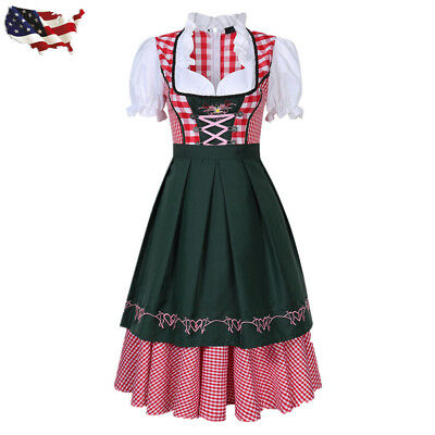 German Oktoberfest Beer Girl Costume Bavarian Tradition Dirndl Dress W/ Apron