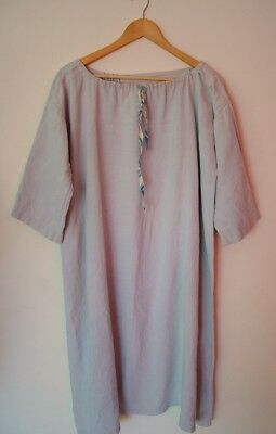 Vintage antique French heavy linen chore night chemise dress monogrammed 'MR'  L