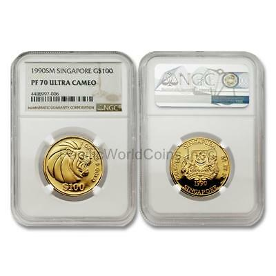 Singapore 1990 Lion $100 1 oz Gold NGC PF70 ULTRA CAMEO SKU#6819