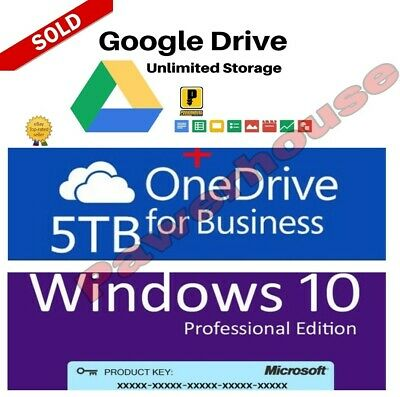Unlimited Google Drive +On D 5Tb + 365 New Acc + Wnd 10 Key For You Buy 4 Win 1