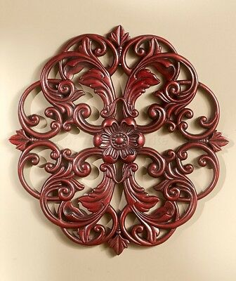 1 Mahogany Medallion Wall Art Carved Wood Look Home Decor
