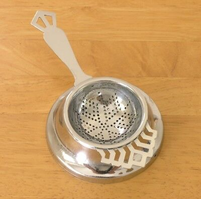 Vtg 1940s-50s tea strainer & drip bowl stand chromium plate England, side handle