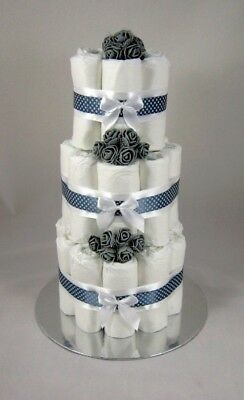 3 Tier Nappy Cake 👣 White&Grey 👣 Maternity Leave New Born Baby Shower Gift  🎁