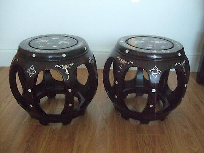 Chinese Rosewood Barrel Form Stools - Set of 2 - Reproduction - MOP shell inlaid