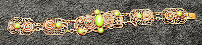 Antique Vintage Bracelet CZECHO Copper or Brass Lace w/ Green Stones
