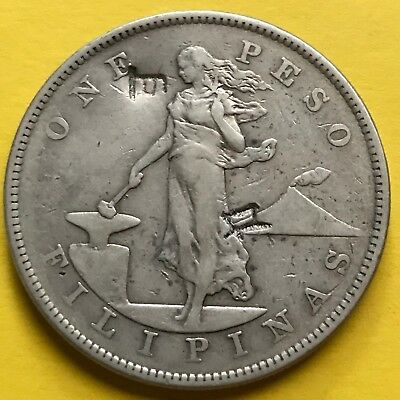 Us Philippines One Peso 1903-P With Chop Marks, Scarce Date #272