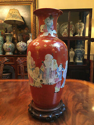 A Large Chinese Antique Iron Red Ground Famille Rose Porcelain Vase, Marked.