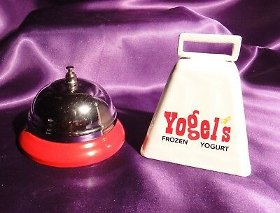 Yogel's Frozen Yogurt Decorative Advertising Sign Cow Bell & Counter Desk Bell